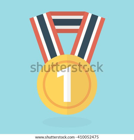 Medal icon, flat design, vector - stock vector
