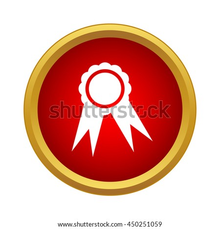 Medal icon in simple style in red circle. Rewarding symbol