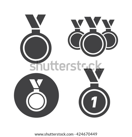 Medal icons set vector illustration. Medal black logo. Medal icons sign eps10 - stock vector