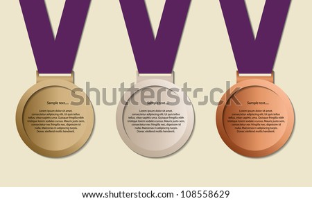 Medal in ribbon with copy-space, symbol for winning and success, vector - stock vector