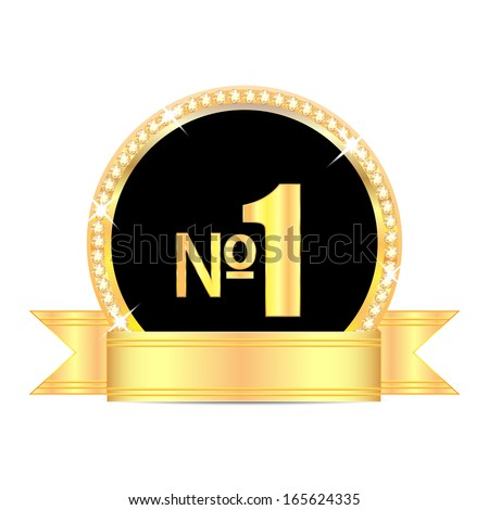 medal with number one and golden ribbon isolated on white background.award in gold with brilliant stones.vector - stock vector