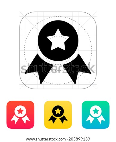 Medal with star icon. Vector illustration. - stock vector
