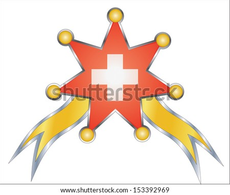 medal with the national flag of Switzerland - stock vector