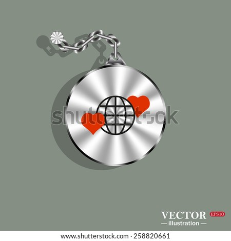 Medallion, medal and chain. Metal. Green background. Shadow.  Icon planet and two red hearts. Symbol of love between the nation. Globe.  vector illustration, EPS 10  - stock vector