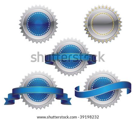 Medallions, scrolls, ribbons - vector illustration - stock vector