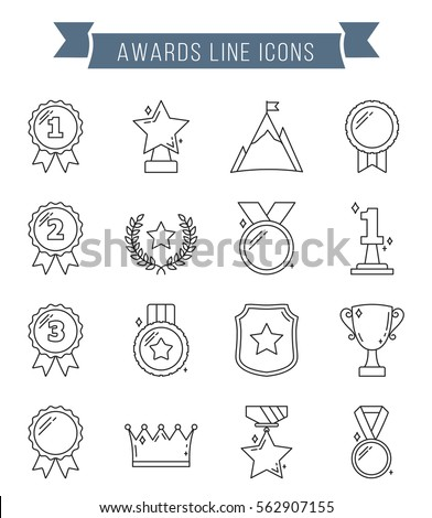 Medals and awards line icons, vector eps10 illustration