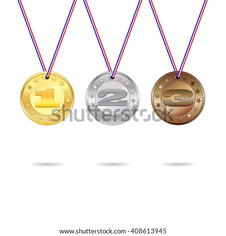 Medals for first, second and third place with lored ribbons - stock vector