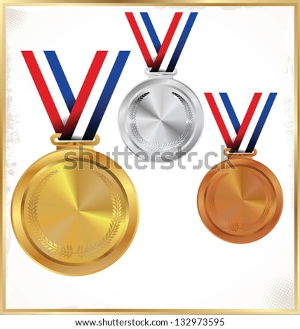 Medals - Gold, Silver And Bronze - stock vector