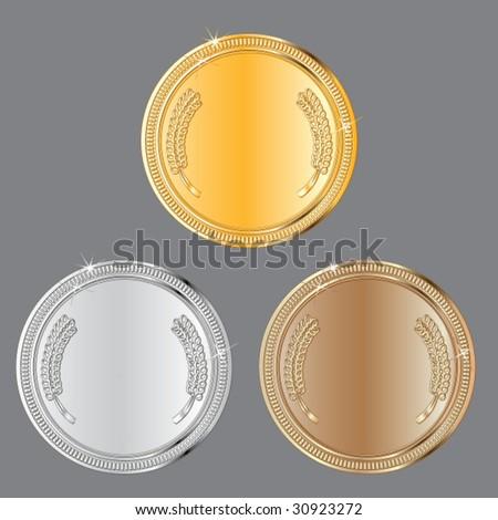 medals set - stock vector