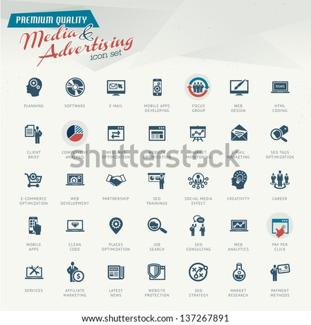 Media and advertising icon set - stock vector