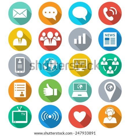 Media and communication flat color icons. Web icons set 1. Vector - stock vector