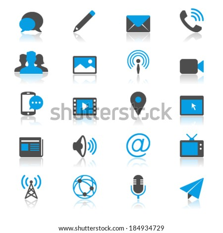 Media and communication flat with reflection icons - stock vector