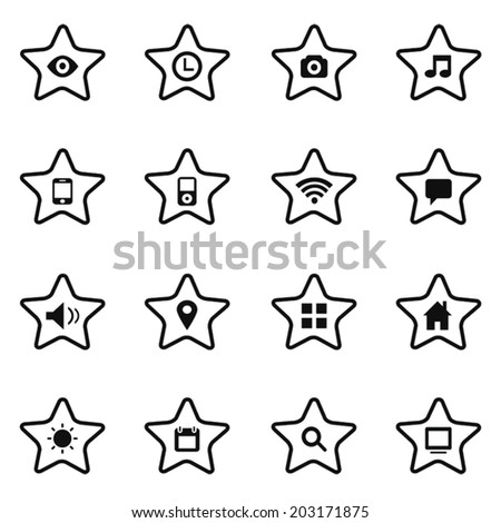 Media and communication icons and star button 16 in 1