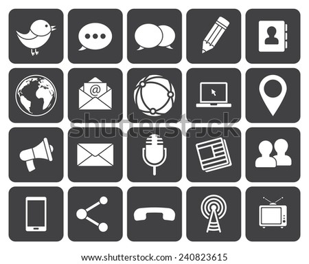 Media and communication icons (modern flat design) - stock vector