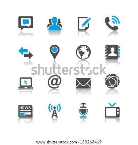 Media and communication icons reflection theme - stock vector