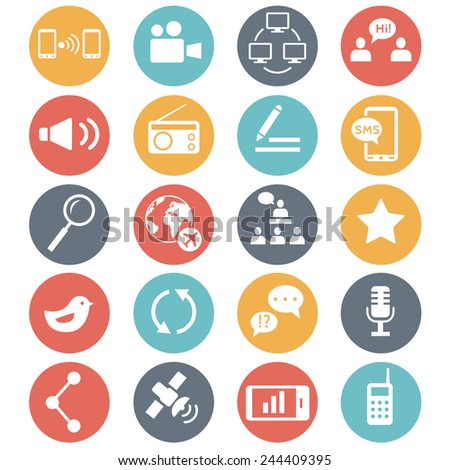 Media and communication icons. Web icons set 2. Vector