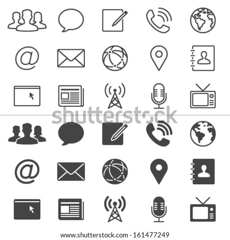 Media and communication thin icons, included normal and enable state. - stock vector