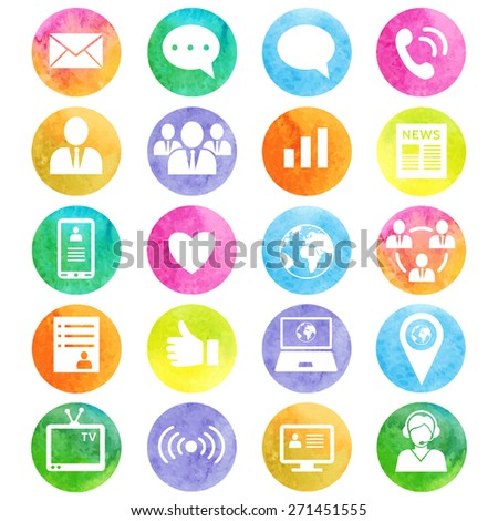 Media and communication watercolor icons. Web icons set 1. Vector - stock vector
