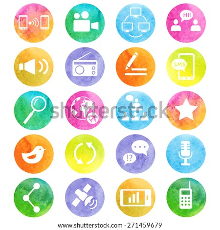 Media and communication watercolor icons. Web icons set 2. Vector