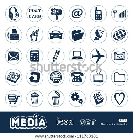 Media and communication web icons set. Hand drawn sketch illustration isolated on white background - stock vector