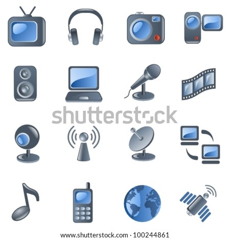 Media and communications icon set