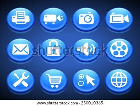 Media and  Computer Technology on Blue Round Buttons