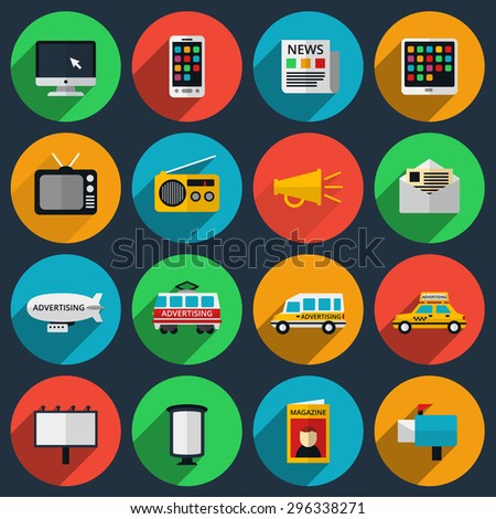Media and information channels icons with long shadows. Web marketing, email and television, radio and internet, media content, newspaper and magazine. Vector illustration - stock vector