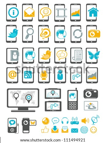 Media and mobile device icons - stock vector