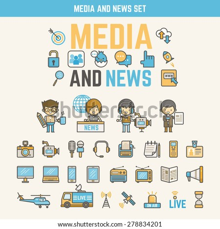 media and news infographic elements for kid including characters and icons - stock vector
