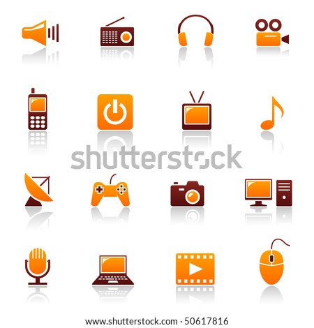Media and telecom web icons. Vector set of sound, radio, headset, video, cinema, cell phone, power button, tv, music, antenna, game pad, camera, computer, mic, laptop, mouse symbols