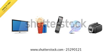 Media and video icon-set - stock vector