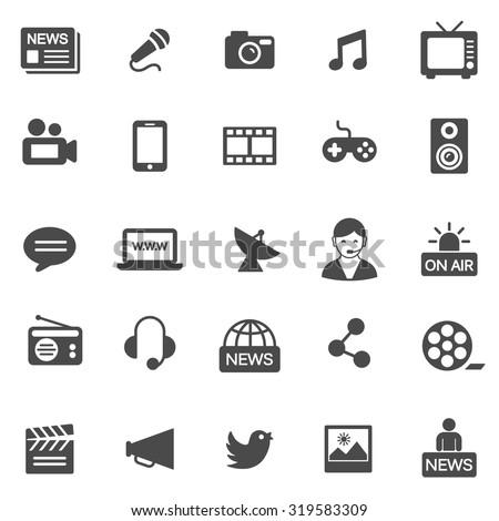 Media black icons set.Vector - stock vector