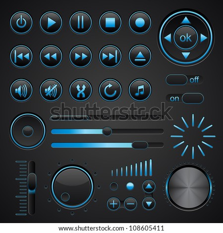 Media buttons - stock vector