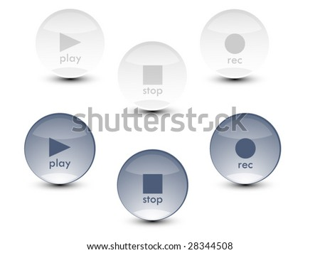 Media Buttons (play, record and stop) - stock vector