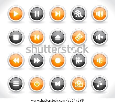 Media buttons. Vector. - stock vector