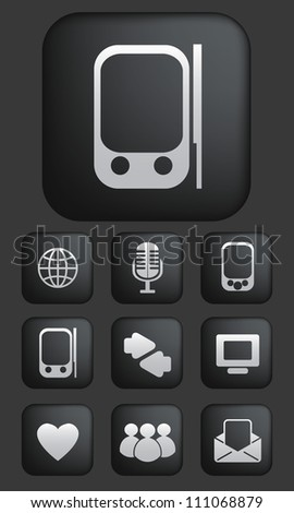 media & communication buttons set, vector - stock vector