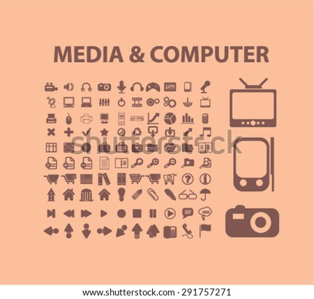 media, compiter icons, illustrations - stock vector