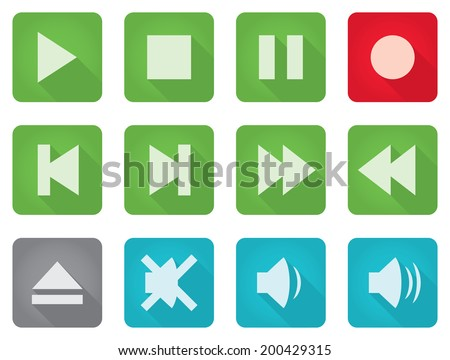 Media controls and volume buttons, flat styled. CMYK global colors, EPS 8 vector illustration.  - stock vector