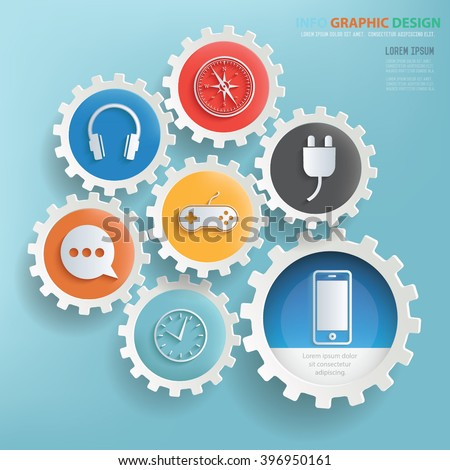Media design,gear info graphic on clean background,vector - stock vector