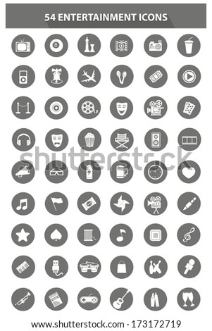 Media & Entertainment icons,Gray version,vector - stock vector