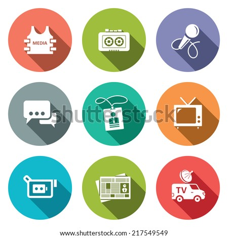 Media flat icon set - stock vector