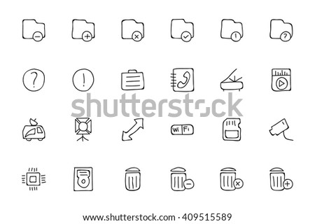 Media Hand Drawn Doodle Icons 7 - stock vector
