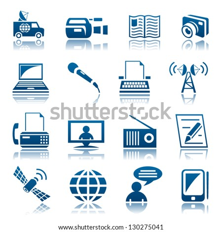 Media icon set - stock vector