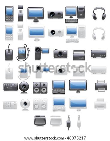 Media icon set. Dark and light variants. Vector. - stock vector