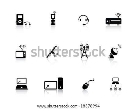Media icon set from series - stock vector