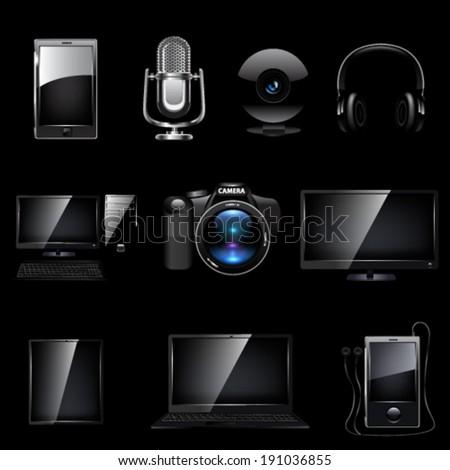 Media icon set. Vector - stock vector