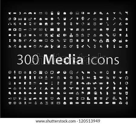 Media Icon set  (vector)  office ,media, mobile icons - stock vector