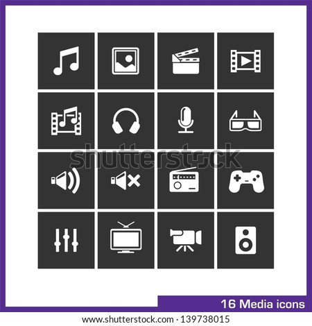 Media icon set. Vector white pictograms for mobile apps, internet, interface design: music, image, movie, video, gallery, headphone, microphone, volume, radio, game, tv, camera, loudspeakers symbol - stock vector