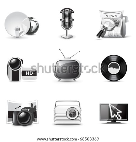 Media icons | B&W series - stock vector