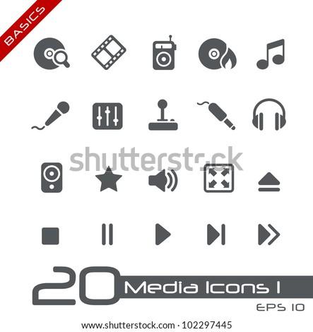 Media Icons // Basics - stock vector